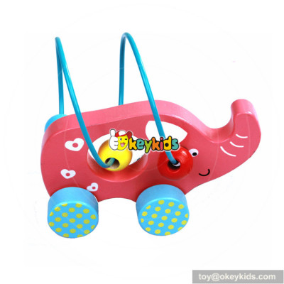 Hot sale educational bead maze toy cars wooden baby push toys W11B149