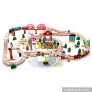 wholesale cheap 120 pcs kids educational construction toy wooden train tracks W04C074