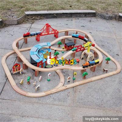wholesale cheap 142 pcs kids construction toy wooden train track toy W04C072