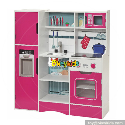 wholesale hot promotional children pretend play toys wooden red play kitchen W10C282