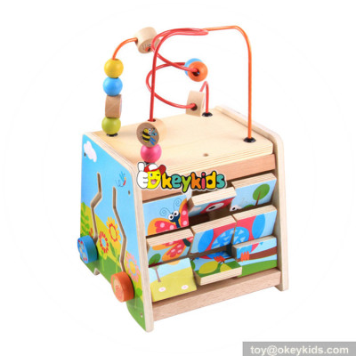 Wholesale most popular diy funny wooden beads cube game toy for toddler W11B152