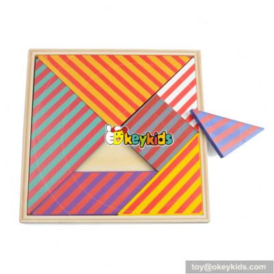 Best design kids classic brain teaser wooden tangram games W11D005