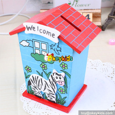 wholesale most popular cute wooden money saving box for kids W02A028