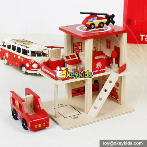Okeykids Best play wooden mini toy fire station for children W04B030
