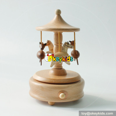 Customized kids cartoon natural wooden carousel music box for sale W07B039