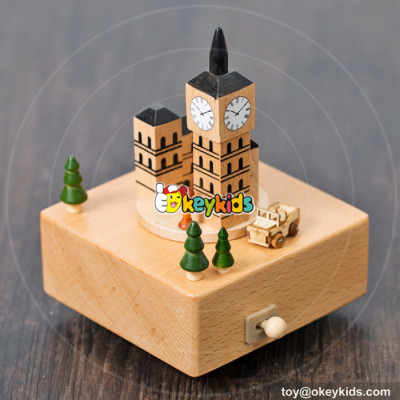 new design europe wooden baby music box for sale W07B041