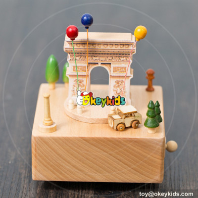 hottest sale baby cartoon toys wooden music box for toddlers W07B043