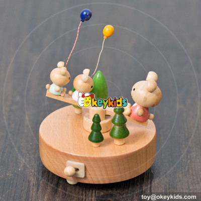 hot sale cartoon educational toys wooden music boxes for children W07B045