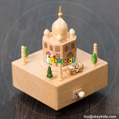 best sale castle shaped wooden music box for kids W07B047