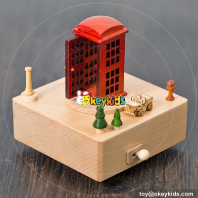 Wholesale best fashion telephone booth wooden handmade music box W07B054