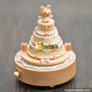 high quality happy birthday cake wooden girls music box  for sale W07B055