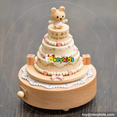 high quality happy birthday cake wooden girls music box  for sale W07B055