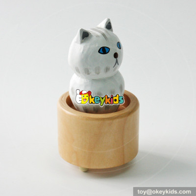 Wholesale most popular wooden cat shaped music box as gift W07B058