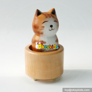 Wholesale cheap promotional cute table top wooden cat music box W07B059
