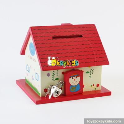 Wholesale cheap cute cartoon style wooden house saving money box W02A277