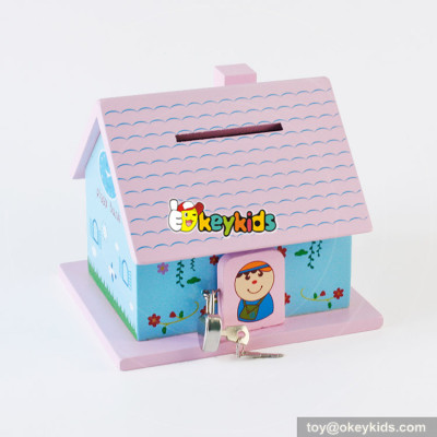 Wholesale top quality wooden house money box for storing coins W02A278