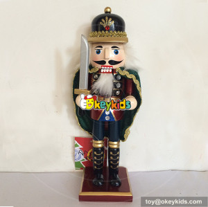Wholesale attractive low price high base wooden nutcracker toy for toddler W02A064