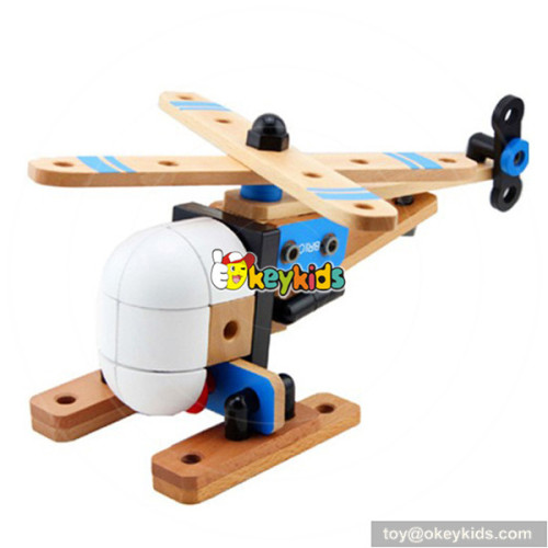 Wholesale most popular wooden assemble aircraft toy as hand skill training W03C005