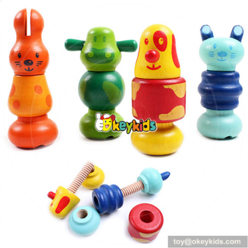 wholesale new most popular wood animal screws toys for kids gift W03C010