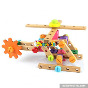 Wholesale creative style wooden kids screw nut combination toy W03C013