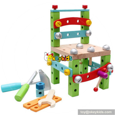 wholesale top fashion 3D chair children wooden assembling toys for sale W03C016