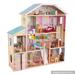 Okeykids 32 furniture pieces luxurious girls wooden doll house toys W06A217