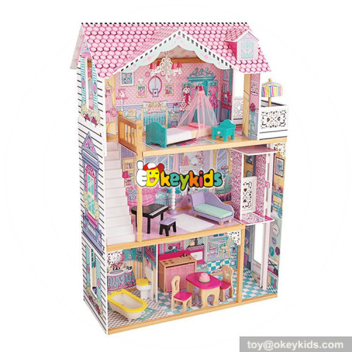 wholesale girls pretend play wooden dollhouse toy new style children wooden dollhouse toy with 16 pieces furniture W06A220