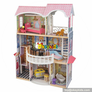 wholesale luxurious and colorful children large dollhouse new arrival wooden large dollhouse for kids W06A221