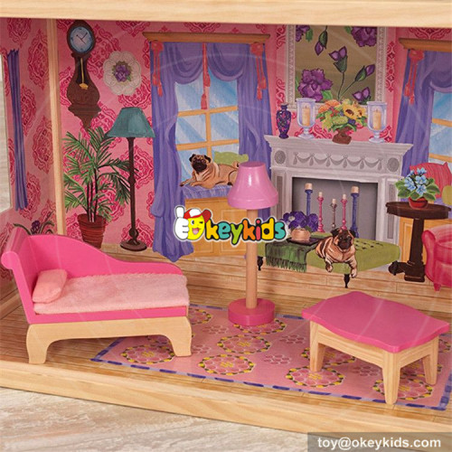wholesale children luxurious and attractive wooden modern dollhouse new design kids toys gifts wooden modern dollhouse W06A223
