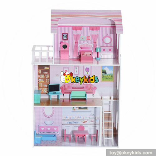 wholesale 13 pieces of furniture kids pink wooden cottage dollhouse pretend play wooden cottage dollhouse for children W06A230