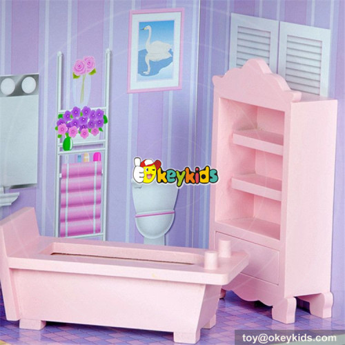 wholesale cheap 3 floor girls wooden dollhouse cottage new style pretend play wooden dollhouse cottage for kids W06A224