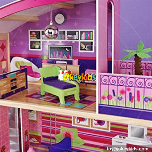 wholesale 11 pieces of furniture children wooden toy house new design kids wooden luxury toy house W06A226