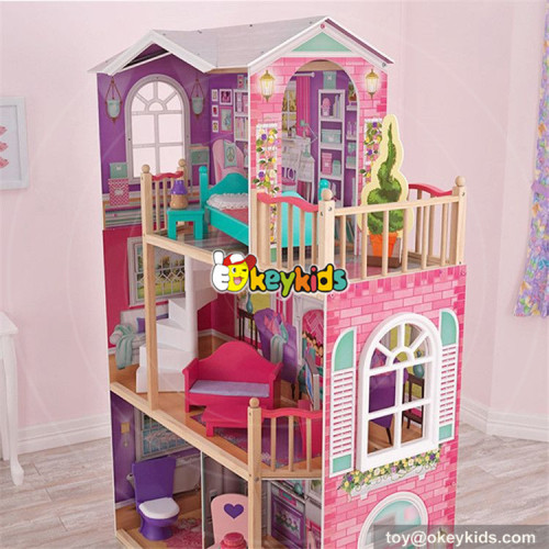 wholesale best kids wooden elegant doll house set new design big size wooden doll house set with furniture W06A227