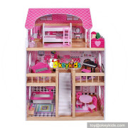 wholesale girls pretend play miniature wooden toy doll house for kids W06A228
