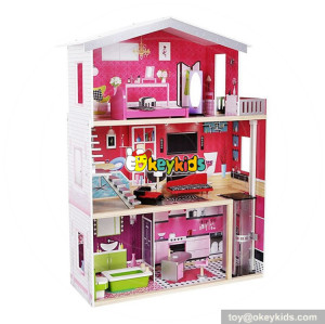 Okeykids best girls pretend toys wooden huge dollhouse W06A229