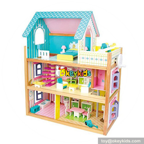 Okeykids toddlers pretend toys wooden small dollhouse with furniture W06A231