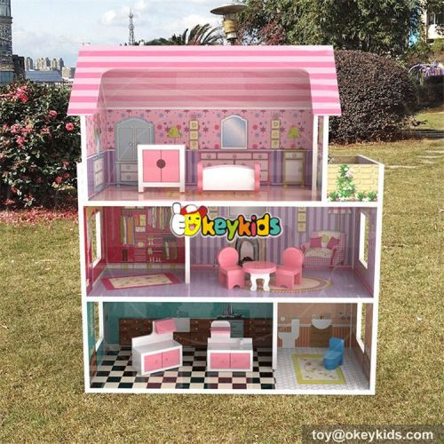 wholesale new style 3 floor toddlers pretend toys wooden miniatures and dollhouse W06A234