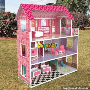 wholesale lovely girls toy sets wooden miniature house kits new design children wooden miniature house kits W06A235