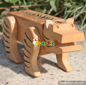 wholesale cute style wooden tiger intelligence toy for sale W11C015