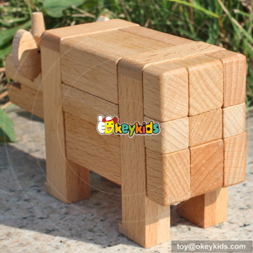 wholesale unique design baby diy wooden animal intelligence toy W11C016