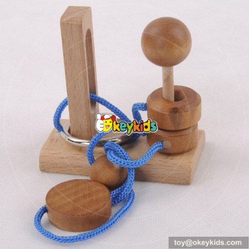 Wholesale best sale educational game wooden children rope puzzle toy W11C025