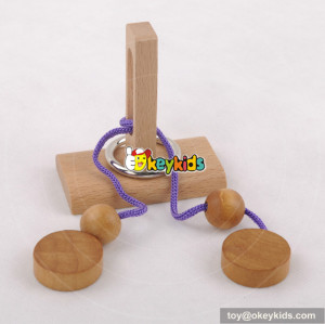 Wholesale cheap best quality wooden rope puzzle toy as children IQ training W11C026