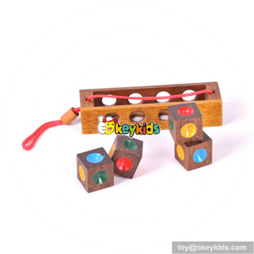 Wholesale top fashion educational wooden unlocked 3d cube puzzle toy for children W11C027
