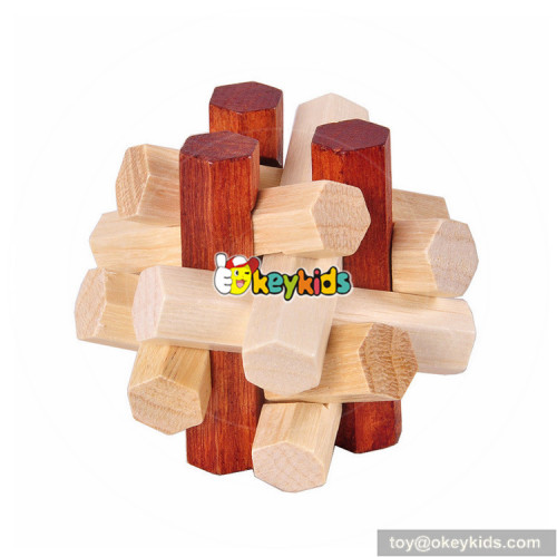 Wholesale most popular educational wooden craft cube block puzzle W11C031
