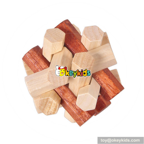 Wholesale hot sale customized Luban lock wooden puzzle toy W11C032