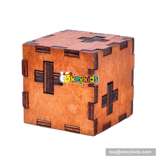 Wholesale top quality wooden adults unlocked puzzle cube W11C035