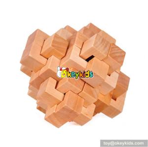 Wholesale most popular children wooden 3d puzzle cube toy W11C038