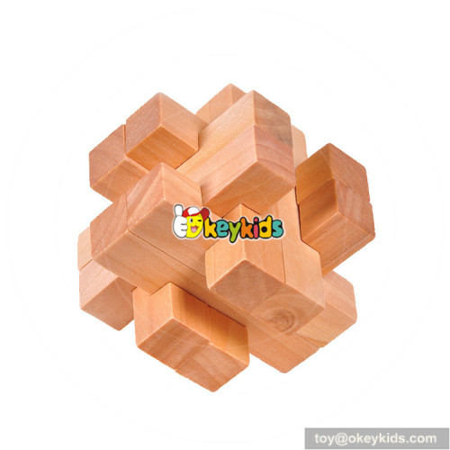 Wholesale vintage style wooden cube puzzle toy for skill training W11C041