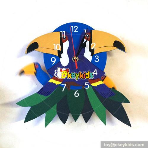 wholesale preschool flamingo pattern wooden teaching wall clock for sale W14K022