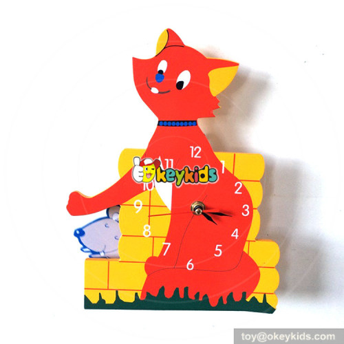 wholesale multi color cat and mouse pattern wooden wall clock for sale W14K023